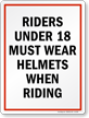 Riders Must Wear Helmets Horse Safety Sign