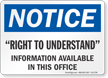 Right To Understand OSHA Notice Sign