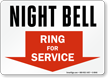 Night Bell - Ring For Service Sign