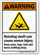 Rotating Shaft Can Cause Injury ANSI Warning Sign