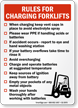 Rules For Charging Forklift Safety Sign