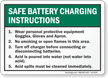 Safe Battery Charging Instructions Sign