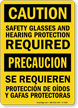 Caution Safety Glasses; Hearing Protection Bilingual Sign