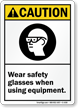 Caution (ANSI): Wear Safety Glasses Sign
