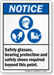 Safety Glasses Hearing Protection Safety Shoes Required Sign