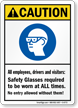 ANSI Caution Eye Protection Sign