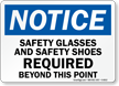 Safety Glasses Shoes Required Sign