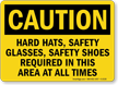 Caution Hard Hats, Safety Glasses Sign