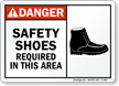 Safety Shoes Required in this Area Sign