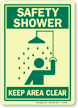 Safety Shower Keep Area Clear (graphic) Sign