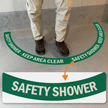 Safety Shower- Keep Area Clear, 2-Part Floor Sign