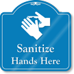Sanitize Hands Here ShowCase Wall Sign