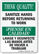 Sanitize Hands Before Returning To Work Bilingual Sign
