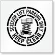 Scissor Lift Parking Only Floor Stencil