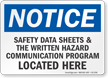 Safety Data Sheets Located Here OSHA Notice Sign