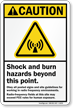 Shock And Burn Hazard ANSI Caution Sign