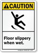 Caution (ANSI) Floor Slippery When Wet Sign