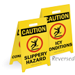 Caution Slippery Hazard Reversible Fold-Ups Floor Sign