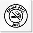 Smoke Free Zone Floor Stencil with Graphic