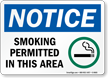 Smoking Permitted In This Area (symbol) Sign