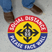 Social Distance Please Face Wall SlipSafe Floor Sign