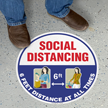Social Distancing 6ft At All  Times SlipSafe Floor Sign
