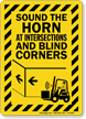 Sound Horn At Intersections And Blind Corners Sign