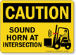 Sound Horn At Intersection Caution Sign