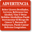 Spanish California Prop 65 Sign For Alcohol Sign