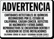 Spanish California Prop 65 Advertencia Sign