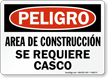 Spanish Area De Construccion Se Requiere Casco Sign