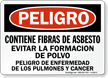 Spanish OSHA Danger Contains Asbestos Fibers Cancer Hazard Sign