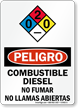 Spanish OSHA Danger Diesel Fuel No Smoking Sign