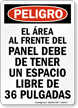 Spanish OSHA Danger Electrical Panel Keep Clear Sign
