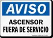Aviso Ascensor Fuera De Servicio Spanish Sign