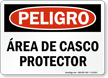 Spanish OSHA Danger Hard Hat Area Sign