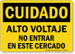 Spanish OSHA Caution High Voltage Do Not Enter Enclosure Sign