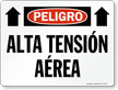 Spanish Peligro Alta Tension Aerea Sign
