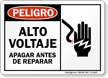 Spanish Danger High Voltage Turn Power Off Before Servicing Sign