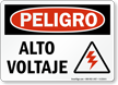 Spanish OSHA Danger High Voltage Sign
