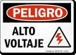 Spanish OSHA Danger High Voltage Sign