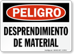 Spanish OSHA Danger Falling Material Sign