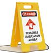 Spanish Peligro Personas Trabajando Arriba Sign