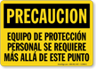 Spanish PPE Required Beyond This Point Sign