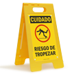 FloorBoss XL™ Spanish Caution Tripping Hazard Stand-Up Sign