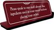 Speak To Staff About Ingredient ShowCase Desk Sign