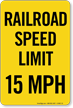 Railroad Speed Limit 15 MPH Sign