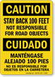 Stay Back 100 Feet Bilingual Sign