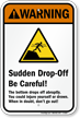 Sudden Drop-Off – Be Careful Sign