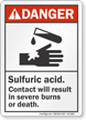 Sulfuric Acid ANSI Danger Sign